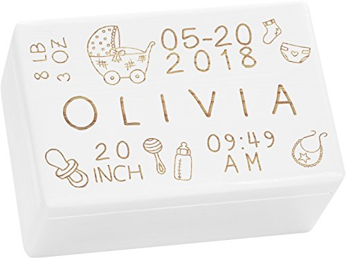 LAUBLUST Engraved Wooden Memory Box - Size L, 12x8x6in - ❤️ Personalized ❤️ Baby Keepsake Box - Rattle Design | Painted White - Made in ()