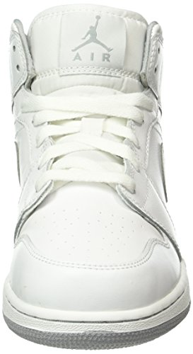Air Jordan Boys Air 1 Mid Big Kids Style Wit / Wolf Grijs // Wit