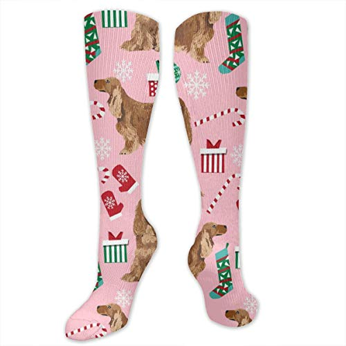 - Cocker Spaniel Xmas Tail Compression Sock for Women & Men - Best for Running, Athletic Sports, Flight Travel 50CM