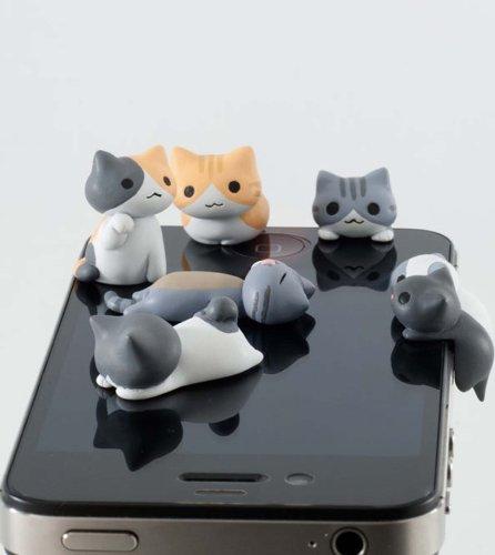 6pcs Cheese Cat 3.5mm Anti Dust Earphone Jack Plug Stopper Cap for Iphone HTC