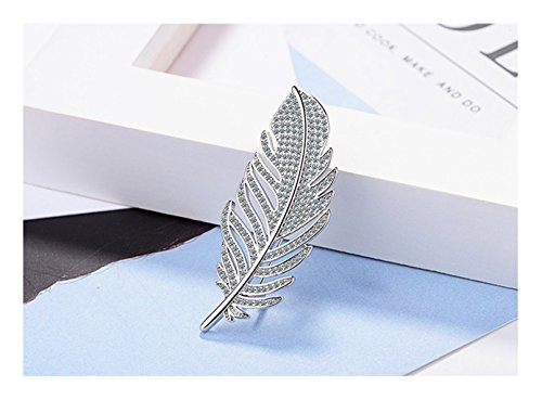 Whiteswallow Feather Silver Brooch Pins Vintage Rhinestone Jewelry for Women
