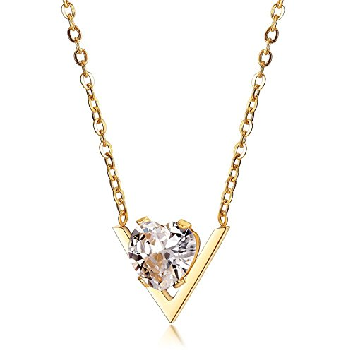 JINBAOYING Cubic Zirconia Pendant Necklace 18K Gold Plated Stainless Steel Chain Diamond Crystal Necklace Women, 18