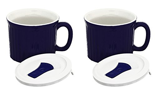 CorningWare Colours Pop-Ins 20-oz Soup Mug Vented Lid - 2 Pack (Twilight) (Oz Mugs Soup Handle With 20)