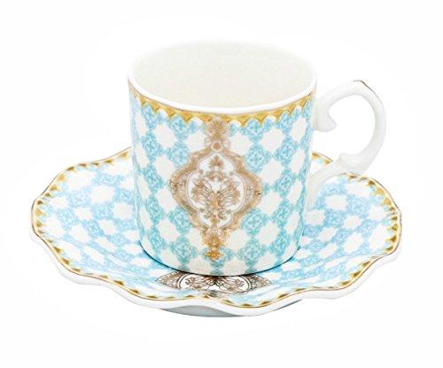 Porcelain Bone China Espresso Turkish Coffee Set of 6 Demitasse Cups + Saucers (Royal Flower Blue) (Royal Blue Cup Espresso)