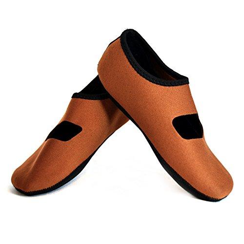 NuFoot Mary Janes Damenschuhe, beste faltbare und flexible Wohnungen, Reise- & Übungsschuhe, Tanzschuhe, Yoga Socken, Hallenschuhe, Hausschuhe Kaffee