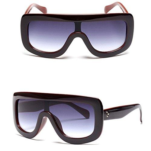 Price comparison product image xuesiLY Retro Women's Big Style Sunglasses Vintage Oversized Designer Shades Eyeglasses (Wine Red)