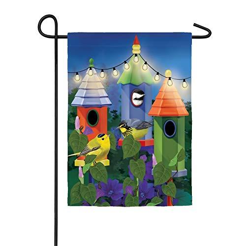 Evergreen Birdhouse Lights Solar LED Applique Garden Flag