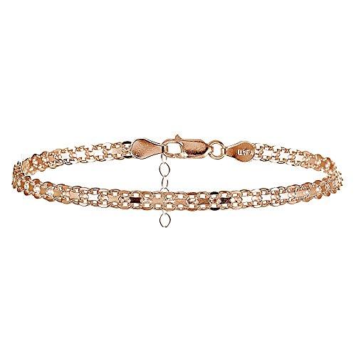 Rose Gold Flashed Sterling Silver Bismark Design Anklet ()