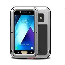 Samsung Galaxy A5 2017 case,Feitenn Extreme Hybrid Armor Alloy Aluminum Metal Bumper Soft Rubber Gorilla Glass Military Heavy Duty Shockproof Hard Case For Samsung A5 2017(Sliver)