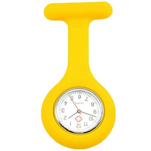 (Potato001 Cute Silicone Nurse Watch Brooch Fob Pocket Tunic Quartz Movement Watch (Yellow))