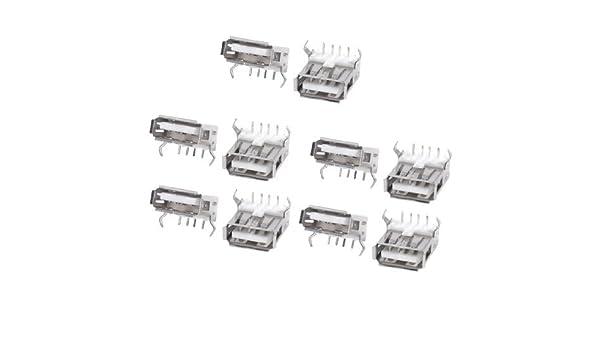 Amazon.com: eDealMax Puerto USB Type hembra estándar de soldadura Para soldar Jacks conector 10pcs tono de Plata: Electronics