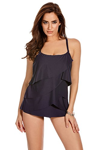Miraclesuit Women's Making Waves Waves Underwire Tankini Top Midnight 14