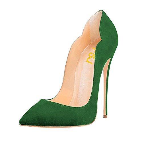 Pompe Fsj Donne Classiche Della Punta Aguzza Tacchi A Spillo Sexy Scarpe Da Sera Signora Ufficio Superficie 4-15 Us Green-camoscio