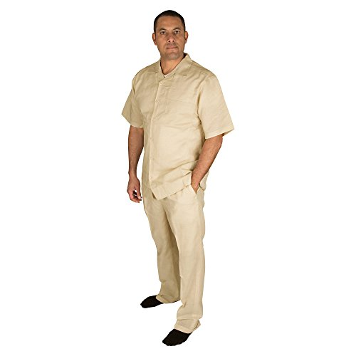 Vittorino Men's 100% Linen 2 Piece Walking Set with Long Pants and Short Sleeve Shirt, Taupe, Large 36-32