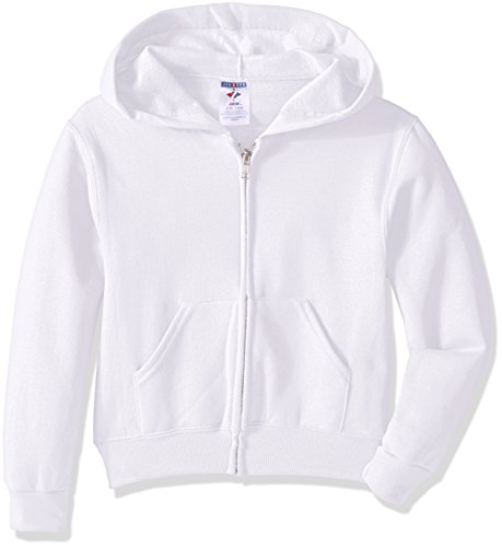 Jerzees Youth Full Zip Hooded Sweatshirt, White, Medium
