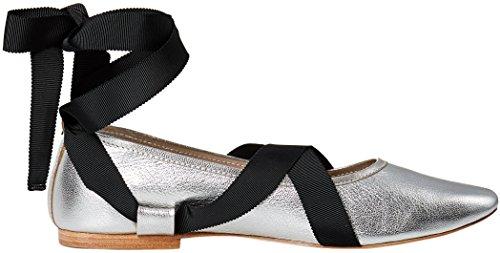 Sølv Sort Ballet perle Leathergrosgrain Flat Randall F metallisk Loeffler w0qx84Of