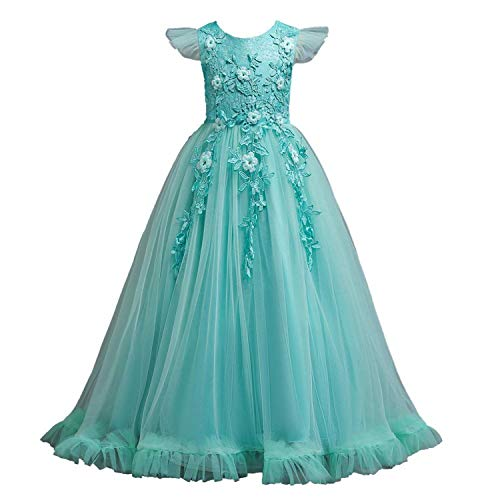 Wedding Tulle Lace Long Girl Dress Elegant Princess