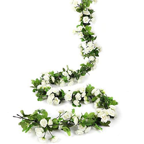 HEJIAYI Artificial Rose Flower Garland for Decoration Fake Rose Flower Vines for Wedding Fake Silk Flower Garland for Weddings, Home, Office, Party(White)
