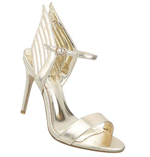 Schuhcity24 Damen Schuhe Sandaletten High Heels Pumps Gold