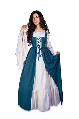 Mythic Renaissance Medieval Irish Costume Over Dress & Cream Chemise Set (XXS/XS, Teal/White)