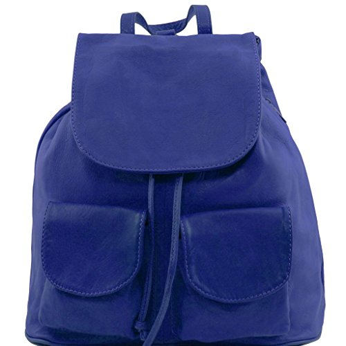 Tuscany Leather Seoul Leather backpack Small size Blue by Tuscany Leather