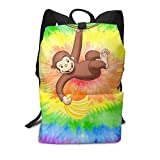 Zu Cu Cu Laptop Backpack for Women Men, Curious George School College Bookbag for Girls Boys Fashion Travel Back Pack