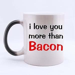 """Special de mejor venta Carcasa de frases de """"I Love You More Than tocino"""" Morphing Taza de cerámica - dos lados"""