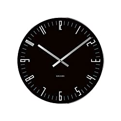 Present Time Karlsson Wall Clock Slim Index Glass with Mirror Edge, Black