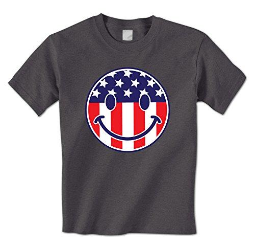 Face Smile Emoji Emoticon USA Patriotic Pride Mens T-Shirt (Large Charcoal) ()