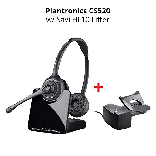 - Plantronics CS520 Binaural Wireless Headset System with Savi HL10 Lifter (Straight Plug)