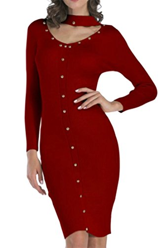 Down Out Pure Hollow Women Knitted Slim Long Sleeve Red Button Dress Choker Sweaters Cromoncent Color Mid 7Cq0Sn
