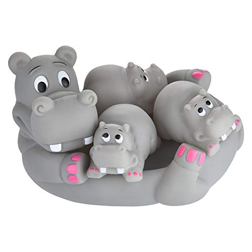 Vertily Bath Toys and Stacking Cups for Toddlers Cute Animal Mummy and 3 Babies Squeaky Floating Bathtub Play Toys Hippo Early Educational Toy for Bathtub -