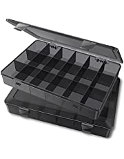Sukuos Plastic Organizer Box, 2 Pack 18 Compartments Plastic Storage Box Organizer for Jewelry, Cosmetics, Crafts, Tackles, Kids Toys, Office Supplies (Black, 10.87''x7.28''x1.65'')