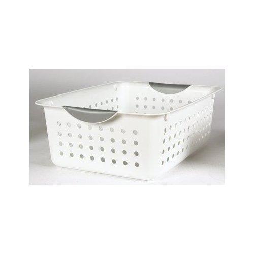 Sterilite Medium Ultra Basket Plastic Storage Bin Organizer - White (Pack of 12) (Plastic Baskets For Storage)