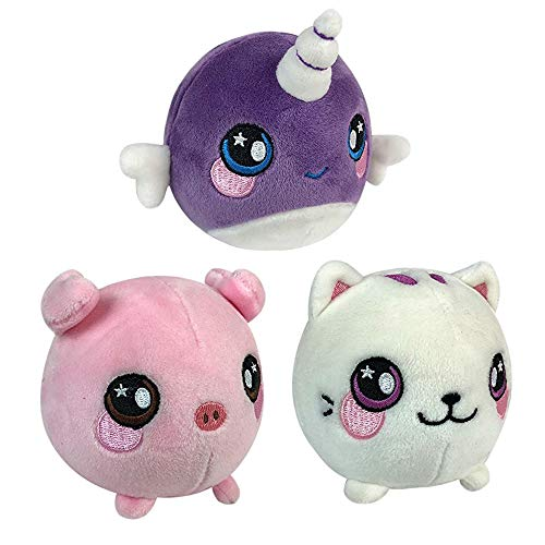 CHAFIN 3Pcs (3.5 ) Slow Rising Animals Squishies Narwhal Unicorn,Callie Cat,Pink Pig Set Soft Plush Squeeze Toy Cream Scented Stress Relief Toys for Kids and Adults