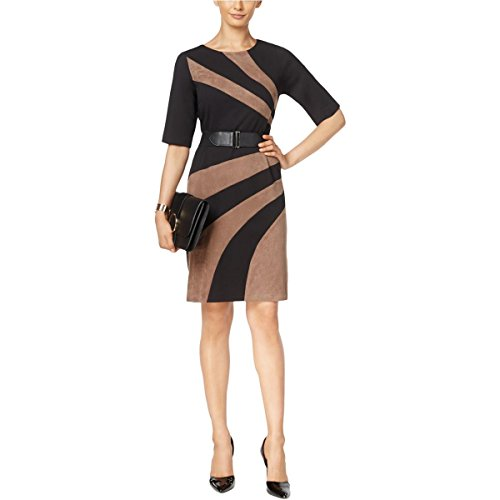 Connected Apparel Womens Colorblock Faux Suede Trim Wear To Work Dress Black 12