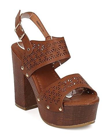 Women Peep Toe Block Heel Sandal - Slingback Platform Chunky Heel - Perforated Dressy Casual Versatile Sandal - HA44 By Alrisco - Tan Leatherette (Size: - Slingback Platform Heels