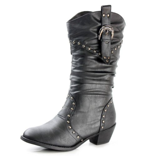 West Blvd Womens Cowboy Boots Casual Western Shoes Chunky Heels Cowgirl Slouch Roper Studded Mid Calf Buckle Slouchy Stud Round Toe Buckled Ruched Dress Fashion Designer Comfort,West-Blvd-Moscow-Cowboy Black Pu 10