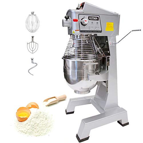 KITMA 30 Quart Heavy Duty Floor Mixer - 3 Speeds Commercial Food Mixer with Stainless Steel Bowl, Dough Hooks, Whisk, Beater, Safety Guard