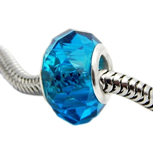 J&M Blue Faceted Glass Charm Bead for (Pandora Compatible Bead Bracelet)