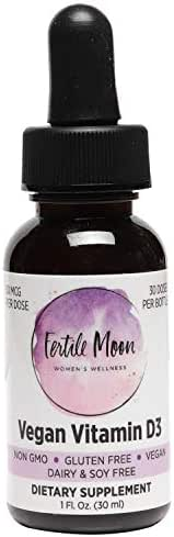 Liquid Vitamin D3 Vegan 50 mcg (2000 IU) Per Dose by Fertile Moon® - Premium Plant-Based Vitamin D3 from Lichen - Non-GMO, No Gluten, Dairy, or Soy - 30 Doses per Bottle