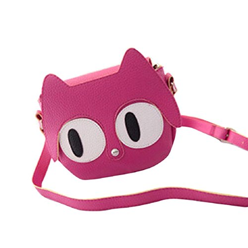 Lookatool Fashion Cute Women Leather Handbag Cross Body Single Shoulder Phone Coin Bag (Hot Pink)
