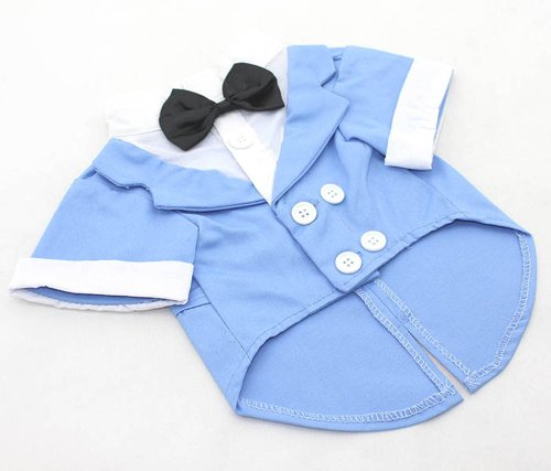 Lovelonglong Dog Products Wholesale Wedding Tuxedo Costumes Puppy Clothing 4 Colors (sky blue ,xs)