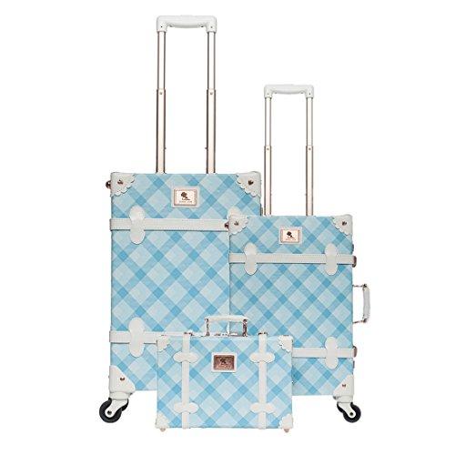 UNIWALKER Vintage Suitcase 3 Piece Luggage Set (Blue plaid) (Plaid Luggage Sets)