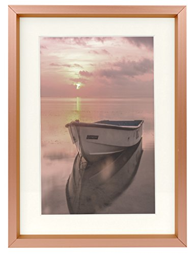5x7 Rose Gold Aluminum Photo Frame - Ivory Mat for 4x6 Picture - Easel Stand for Table/Desk Top - Swivel Tabs - Landscape/Portrait - Real Glass (5x7)