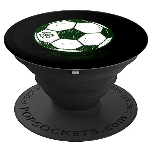 St. Patricks Day Art Shamrock Soccer Ball Football Lover - PopSockets Grip and Stand for Phones and Tablets