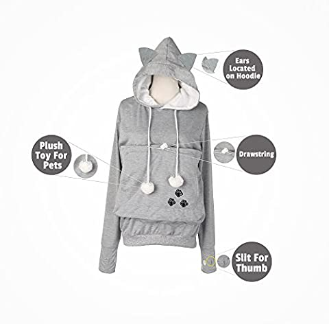 Petgaroo Womens Sweatshirt with Pet Holder for Cats Kittens Dogs Puppies Pet Holder Kangaroo Pouch Hoodie (Large)