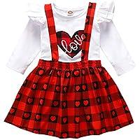 Conjunto de saias de manga comprida com tiras xadrez e estampa de amor para meninas de 3 meses a 3 anos da mulampli