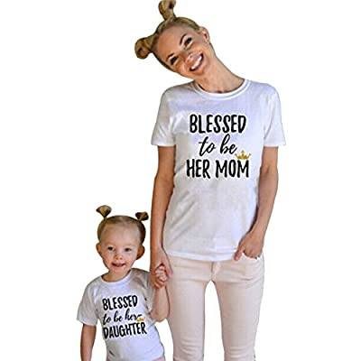 Buedvo Mom & Baby Parent-Child BLESSED to be HER DAUGHTOR/MOM Crown Print Shirt Family Clothes