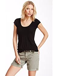 JAMES PERSE HIGH GAUGE DEEP V CAP SLEEVE JERSEY TEE BLACK